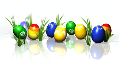 easter eggs with gras 3d