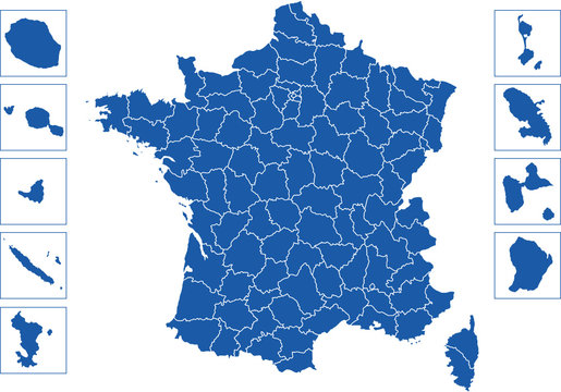 Départements Français avec les DOM et TOM