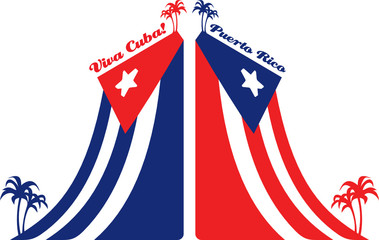 Cuba and Puerto Rico flag and palm