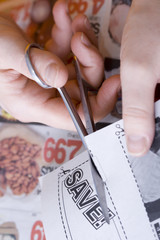 cutting abstract saving coupon