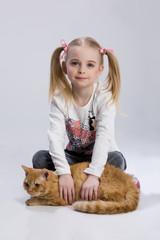 Little Girl And Ginger Cat