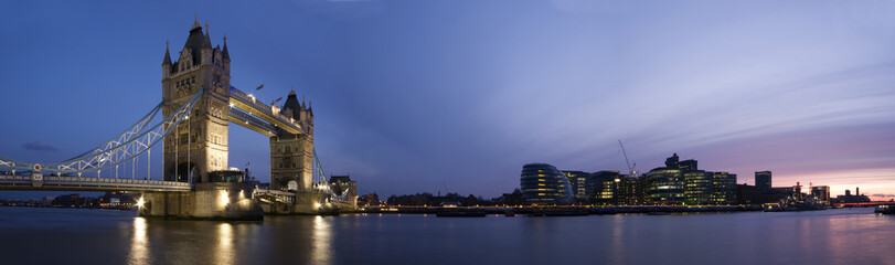 Garden Poster London Panoramic evening time shot of Tower Bridge and city of London.