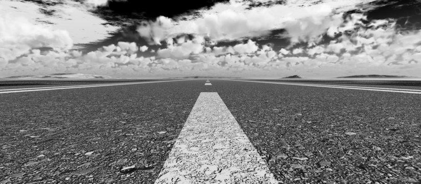 Asphalt road panoramic black and white