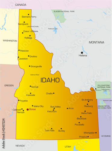 Vector color map of Idaho state. Usa\