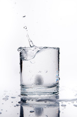 Glass of splashing water