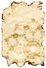 vintage burnt paper with floral pattern