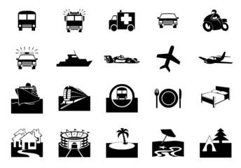 Icônes Transport & Voyages (vecteur)