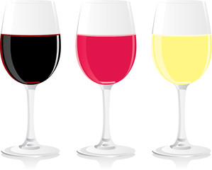 isolated wine glasses