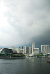 Singapore city under clouds