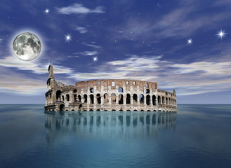 surrealistic view of the colosseum partially sunk in the ocean