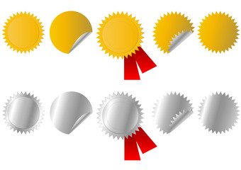 set of gold and silver stickers, vector