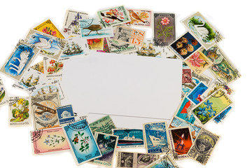 blank postcard with vintage stamps