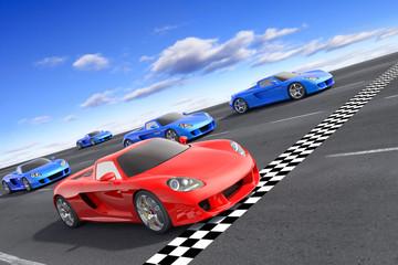 Printed roller blinds Fast cars Winner concept. Hi-res 3d rendering.