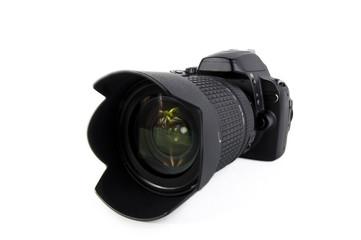 Black camera on white background