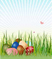 Easter eggs on the beautiful green grass background