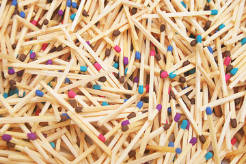 Matches of different colors.