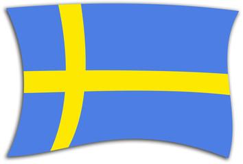 Bandera sueca ondeando