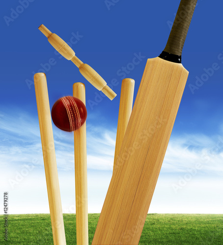 """""""Cricket bat and stumps"""" Stock photo and royalty-free ..."""