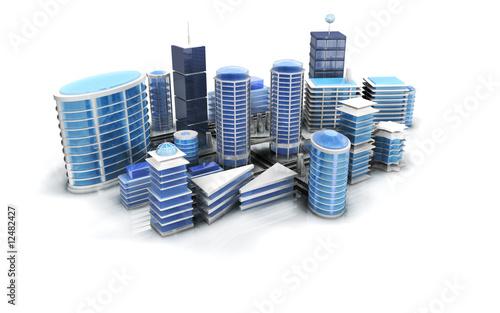Ville moderne building architecture 3d photo libre de for Construction 3d en ligne