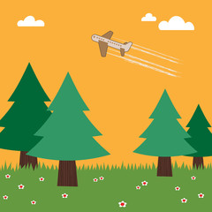 Papiers peints Avion, ballon airplane flying over trees