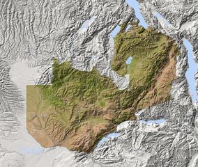 Zambia, shaded relief map