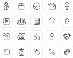 Plain icon set: Business