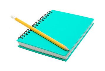 notebook with pencil isolated