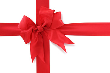 Red gift bow on white background