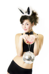 Girl brunette wearing Playboy bunny
