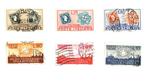 old italian stamps in lire (pounds)