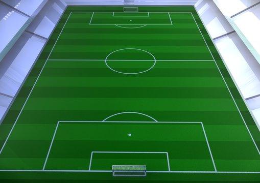 Fussballstadion Übersicht Mannschaftsaufstellung