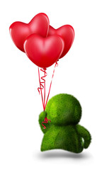Cute green man giving colorful balloons