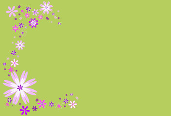 Frise fleurs roses, parme et blanches sur fond vert