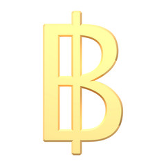 Gold Thai baht sign isolated on white.