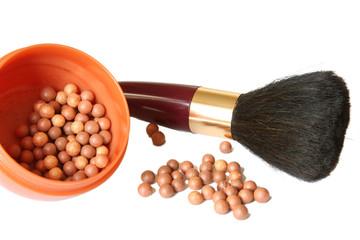 Cosmetics. Blusher and brush