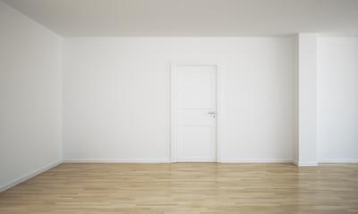 Empty room with a closed door