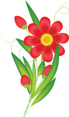 spring bouquet containing red flower and green grass