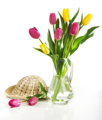 Spring tulips and hat