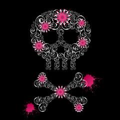 Grunge emo  background with skull and flowers.