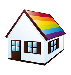Rainbow little house gay flag