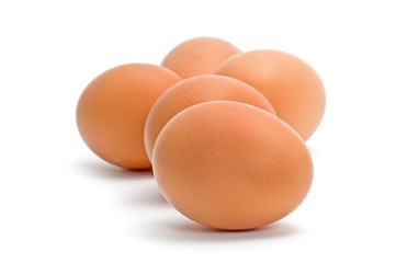 Group of brown chicken eggs