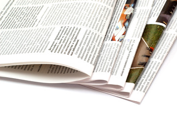 Newspaper, isolated on white backgroubd