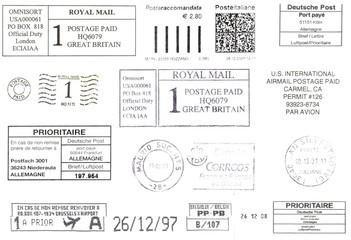 Europe: black postage stamps background