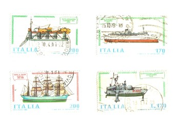 old ships in the Italian stamps