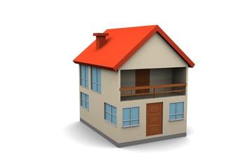 isolated new house - 3d render illustration on white