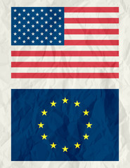 usa and euro flag