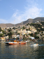 Sailing vessel in the harbor of the Greek city