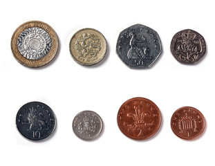 Isolated Front Facing of Coins of united kingdom