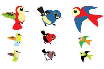 Poster Oiseaux, Abeilles Colorful Birds