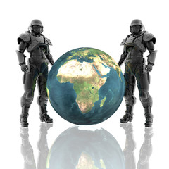 3d soldiers in a gas mask with earth